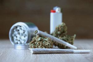 Marijuana paraphernalia to represent marijuana addiction